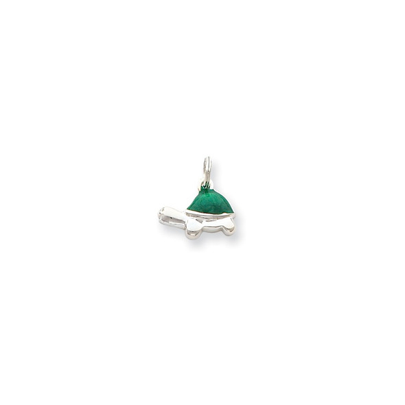 Sterling Silver Green Enameled Turtle Charm QC4907