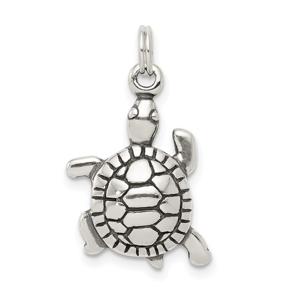 Sterling Silver Antiqued Turtle Charm QC4906