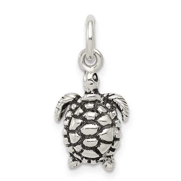 Sterling Silver Antiqued Turtle Charm QC7667