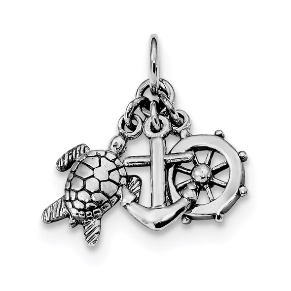 Rhodium-Plated Sterling Silver Antiqued Turtle, Anchor and Wheel Charm