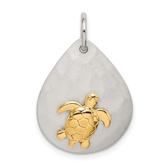 Sterling Silver Gold-Tone Turtle Brushed Charm