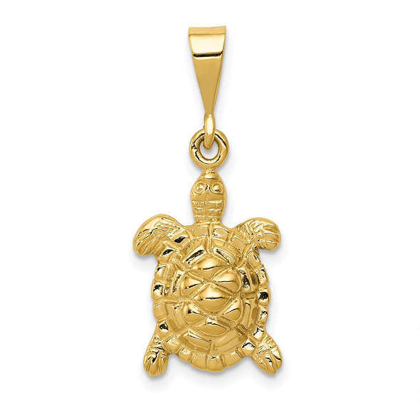 14k Yellow Gold Solid Polished Open-Backed Sea Turtle Charm
