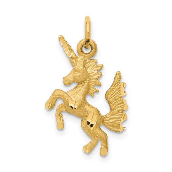 14k Yellow Gold Dancing Unicorn Charm