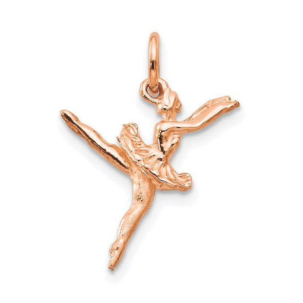 14k Rose Gold Polished 3-D Ballerina Charm