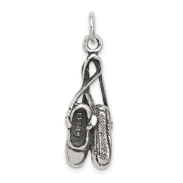 Sterling Silver Antiqued Ballet Shoes Charm