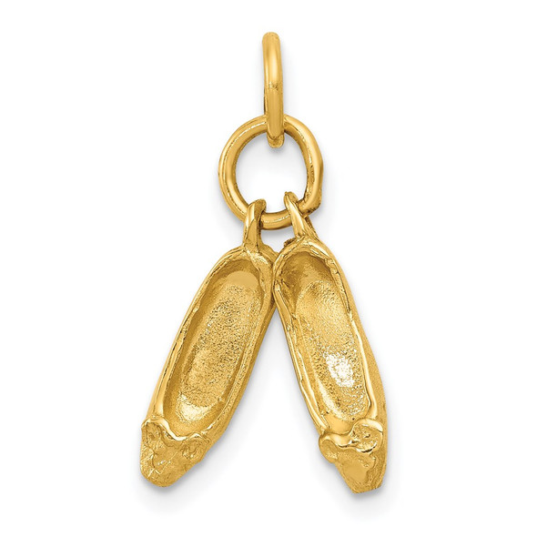 14k Yellow Gold 3D Ballet Slippers Charm A0181