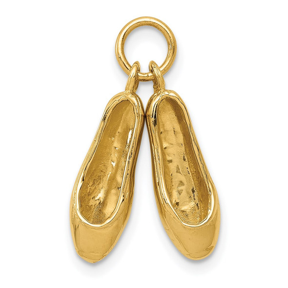 14k Yellow Gold 3D Ballet Slippers Charm A1201/L