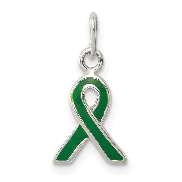 Sterling Silver Green Enameled Awareness Charm