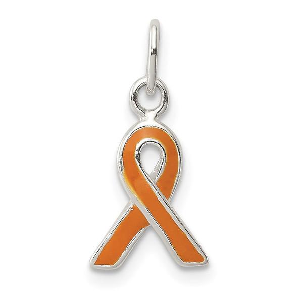 Sterling Silver Orange Enameled Awareness Charm