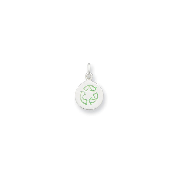 Sterling Silver Enameled Round Recycle Charm
