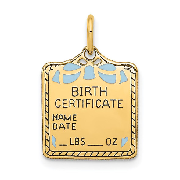 14k Yellow Gold Enameled Blue Engravable Birth Certificate Charm A0363/B