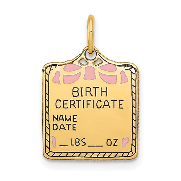 14k Yellow Gold Enameled Pink Engravable Birth Certificate Charm A0363/P