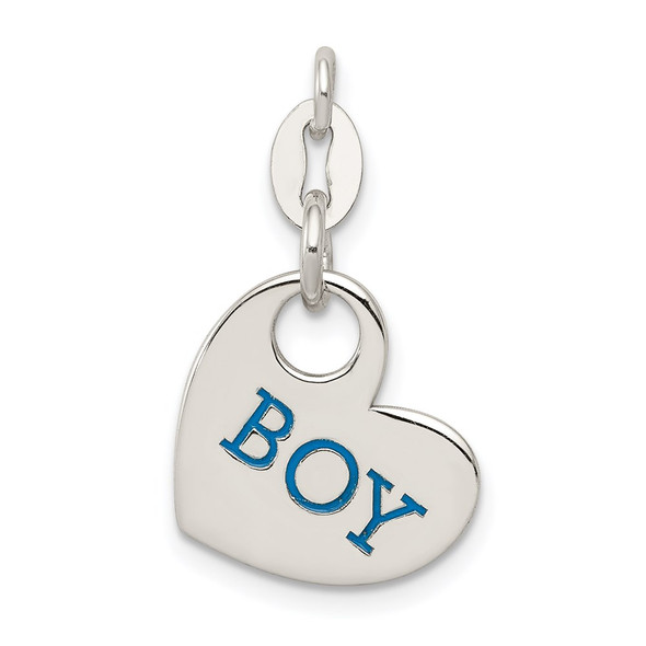 Sterling Silver Polished Enamel Boy Charm
