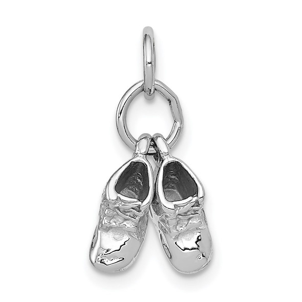 14k White Gold 3D Moveable Baby Shoes Charm