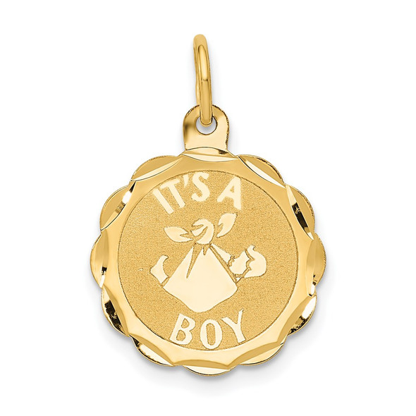 14k Yellow Gold Polished ITS A BOY Scalloped Disc Charm