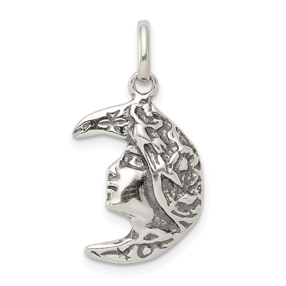Sterling Silver Antiqued Moon Charm QC3922