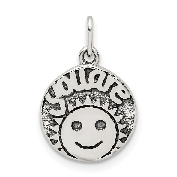 Sterling Silver Antiqued Smile Sun Charm