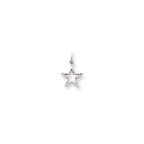 10K White Gold Diamond-cut Star Charm