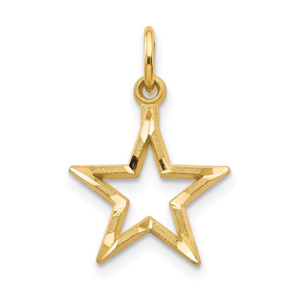 14k Yellow Gold Diamond-cut Star Charm C1114