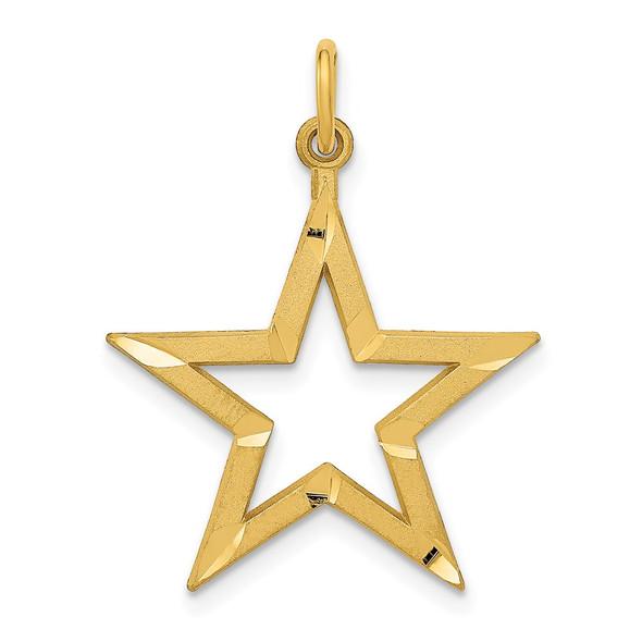 14k Yellow Gold Diamond-cut Star Charm C1115