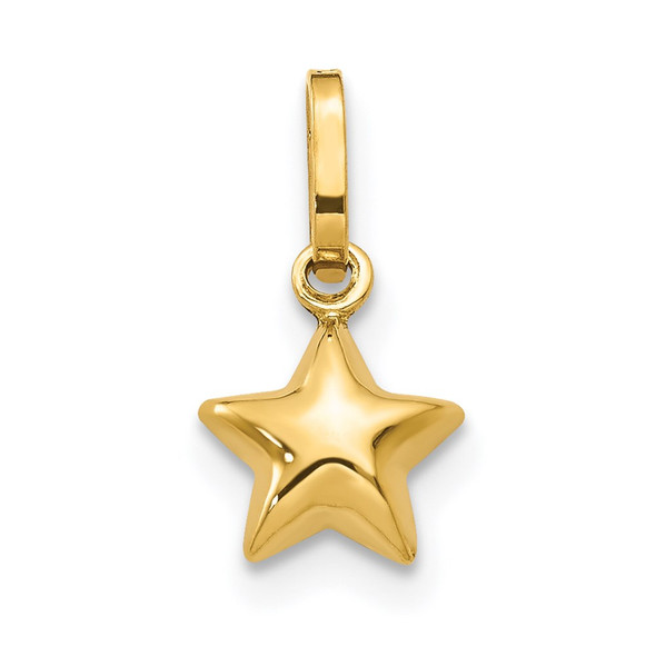 14k Yellow Gold 3D Puffed Star Charm XCH157