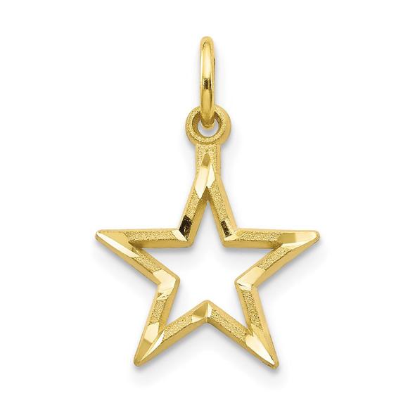 10ky Diamond-Cut Flat Back Star Charm