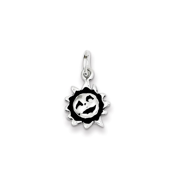 Sterling Silver Antiqued Sun Charm QC7534