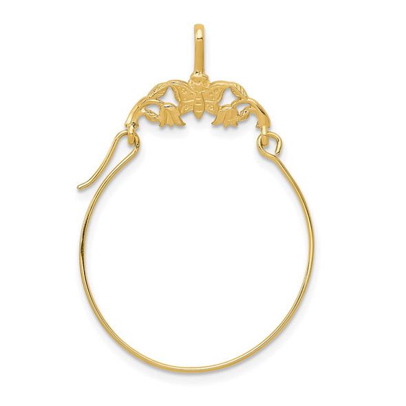 14k Yellow Gold Polished Butterflies Holder Charm Holder Pendant