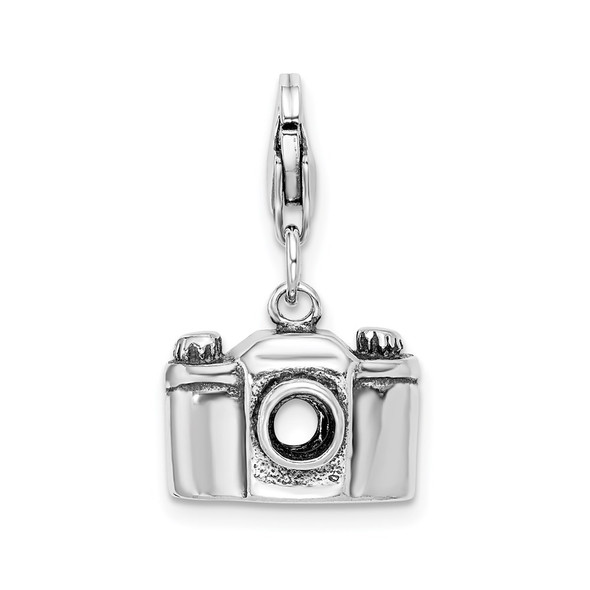Sterling Silver Antiqued Camera w/Lobster Clasp Charm
