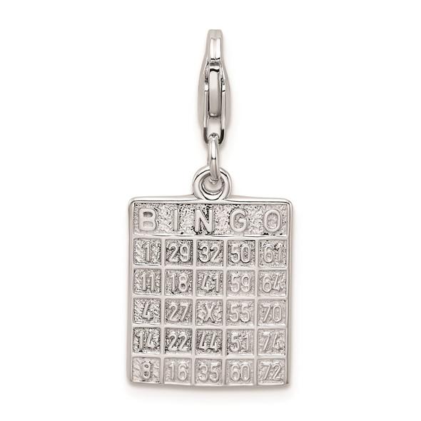 Sterling Silver Bingo Card w/Lobster Clasp Charm