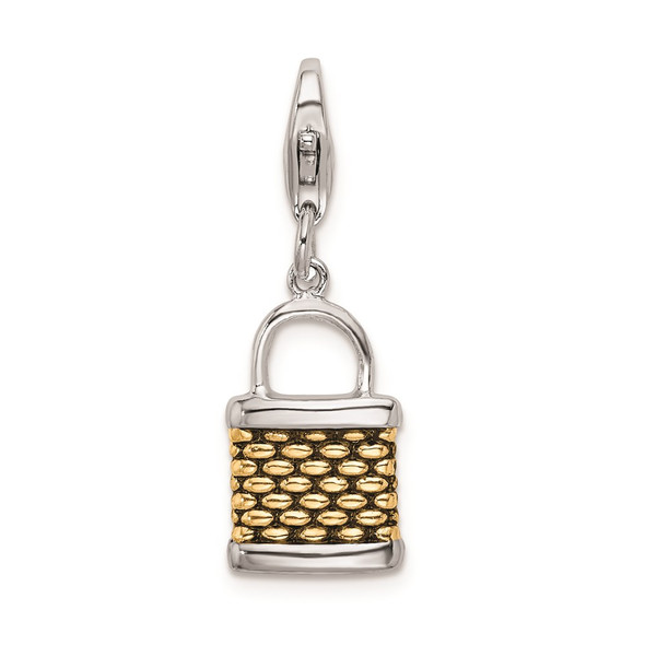 Gold-Plated Sterling Silver 3-D Fishing Basket w/Lobster Clasp Charm