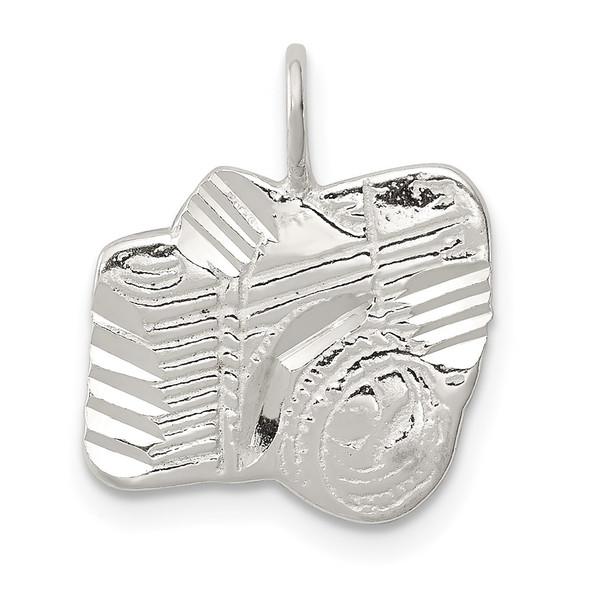 Sterling Silver Diamond-Cut Camera Charm