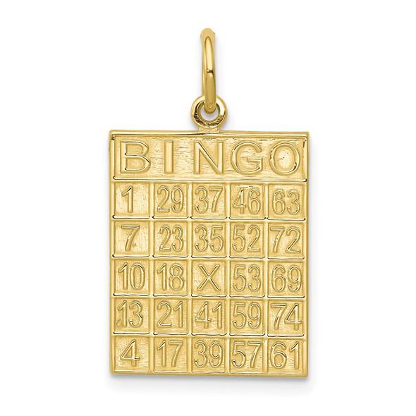 10k Yellow Gold Solid Bingo Card Charm