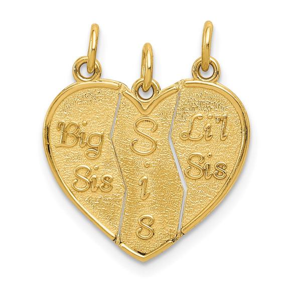 14k Yellow Gold 3 Piece Break-Apart Big Sis, Sis and Lil Sis Charm