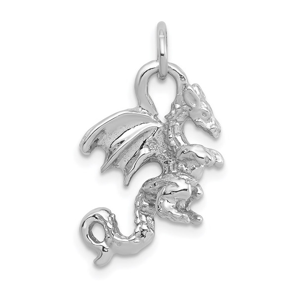 14k White Gold Solid Polished 3-D Dragon Charm