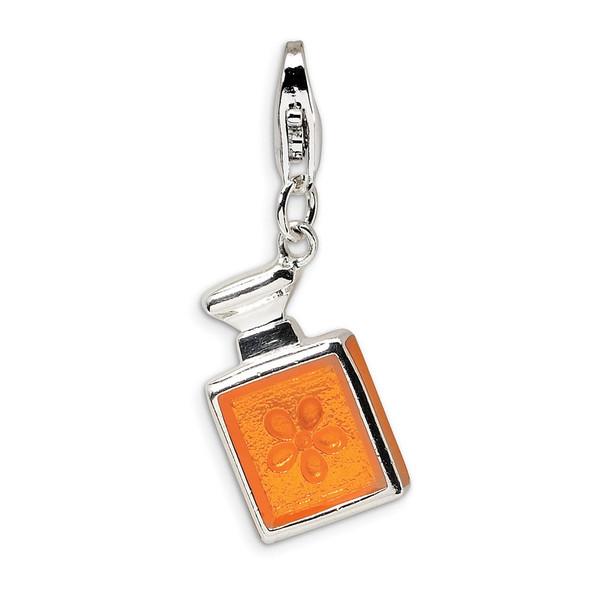 Sterling Silver 3-D Orange Enamel Perfume Bottle w/Lobster Clasp Charm