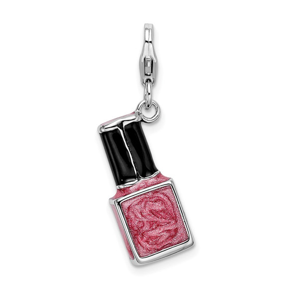 Sterling Silver 3-D Enameled Pink Nailpolish Bottle w/Lobster Clasp Charm