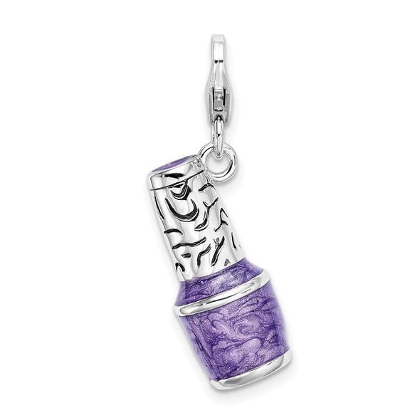 Sterling Silver 3-D Enameled Purple Nailpolish Bottle w/Lobster Clasp Charm
