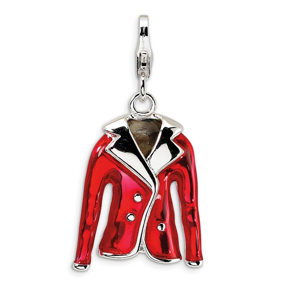 Sterling Silver 3-D Enameled Red Jacket w/Lobster Clasp Charm