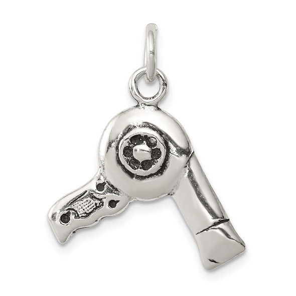 Sterling Silver Antiqued Hairdryer Charm