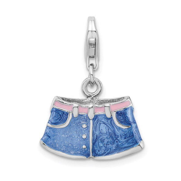 Sterling Silver 3-D Enameled Blue Jean Shorts w/Lobster Clasp Charm