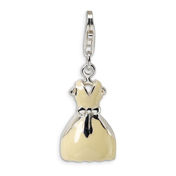 Sterling Silver 3-D Enameled Dress w/Lobster Clasp Charm
