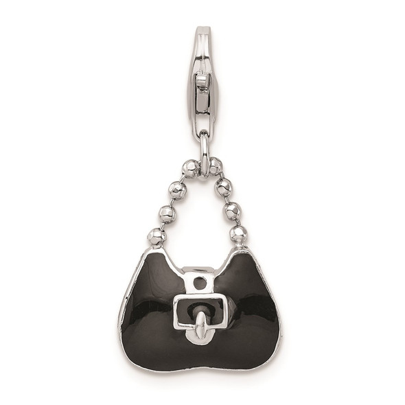Rhodium-Plated Sterling Silver 3-D Enameled Purse w/Lobster Clasp Charm