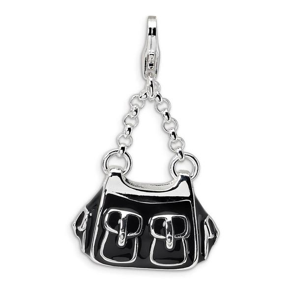 Sterling Silver 3-D Enameled Black Handbag w/Lobster Clasp Charm