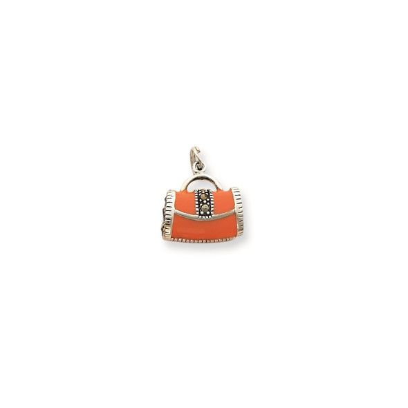 Sterling Silver Orange Enameled Marcasite Purse Charm QC4225