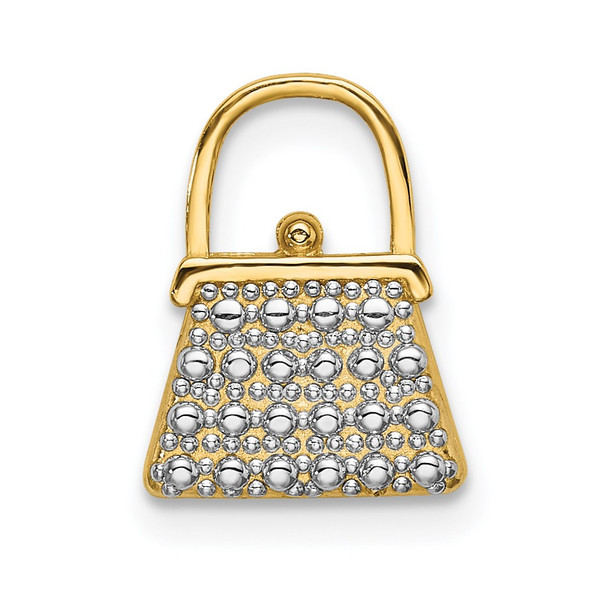 14k Yellow Gold w/ Rhodium 2-D Textured and Polished Purse Charm