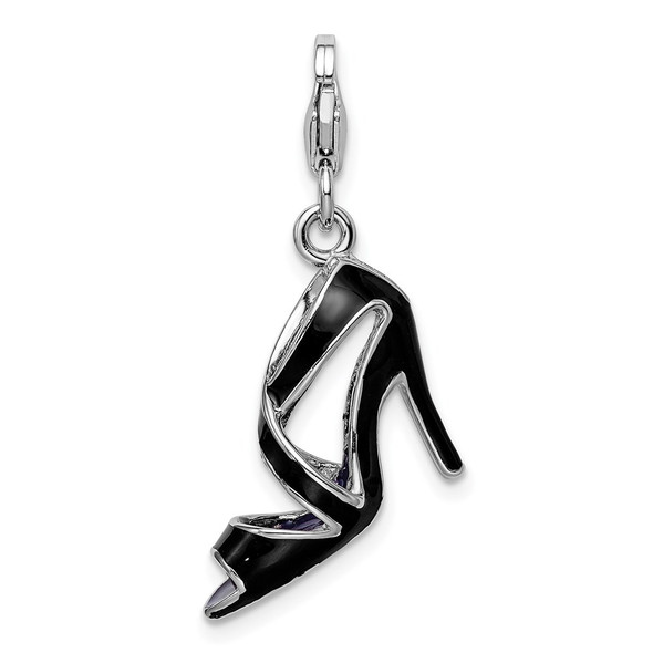 Sterling Silver 3-D Enameled Black High Heel w/Lobster Clasp Charm