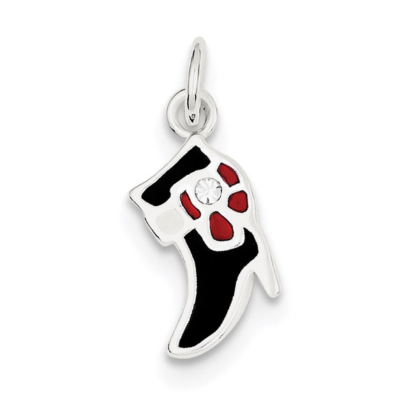 Sterling Silver Black & Red Enameled Boot Charm