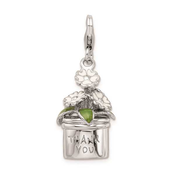 Sterling Silver 3-D Enameled Thank You Flowers w/Lobster Clasp Charm
