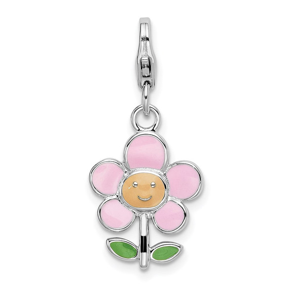 Rhodium-Plated Sterling Silver Enameled Flower w/Lobster Clasp Charm